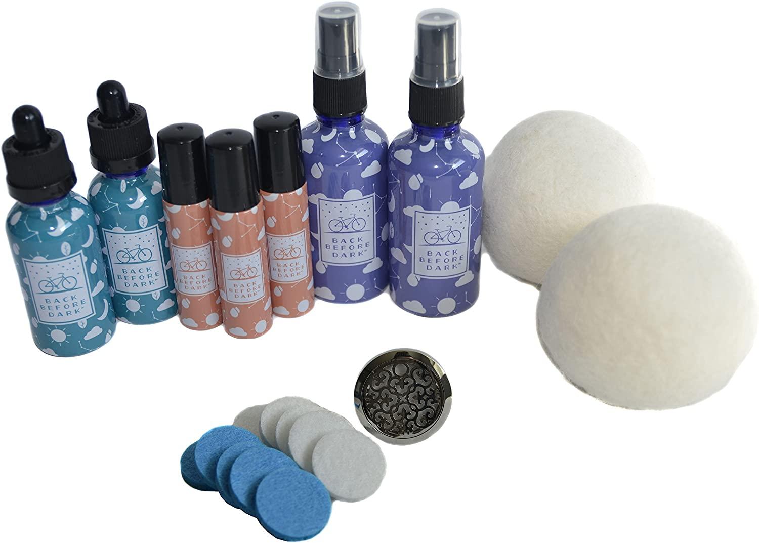 Back Before Dark Essential Oil Accessories Starter Kit – Essential Oil Roller Bottles – Glass spray bottles – Glass dropper bottles – Wool dryer balls – Car diffuser