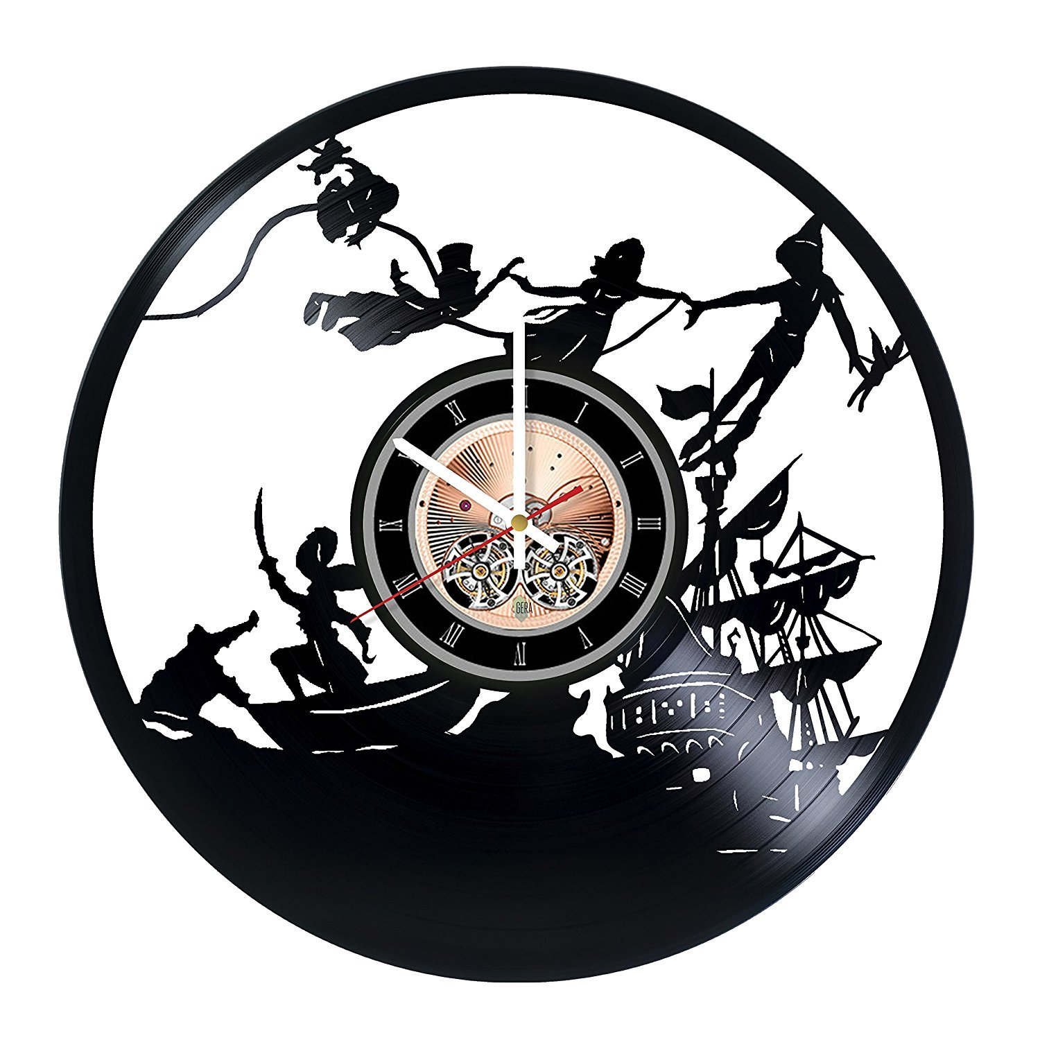Peter Pan Vinyl Record Wall Clock - Home Room wall decor - Gift ideas for children, kids - Funny Cartoon Unique Art Design choma