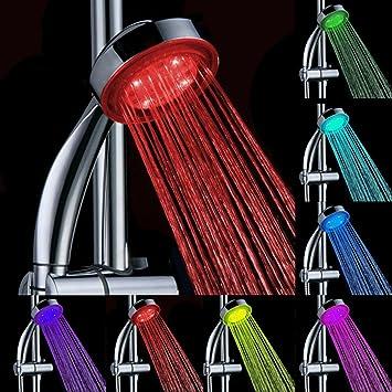 Soffione Doccia a LED Materiale ABS con Funzione Cambiacolore 7 Colori Cambia Colore Automatico Misura Universale