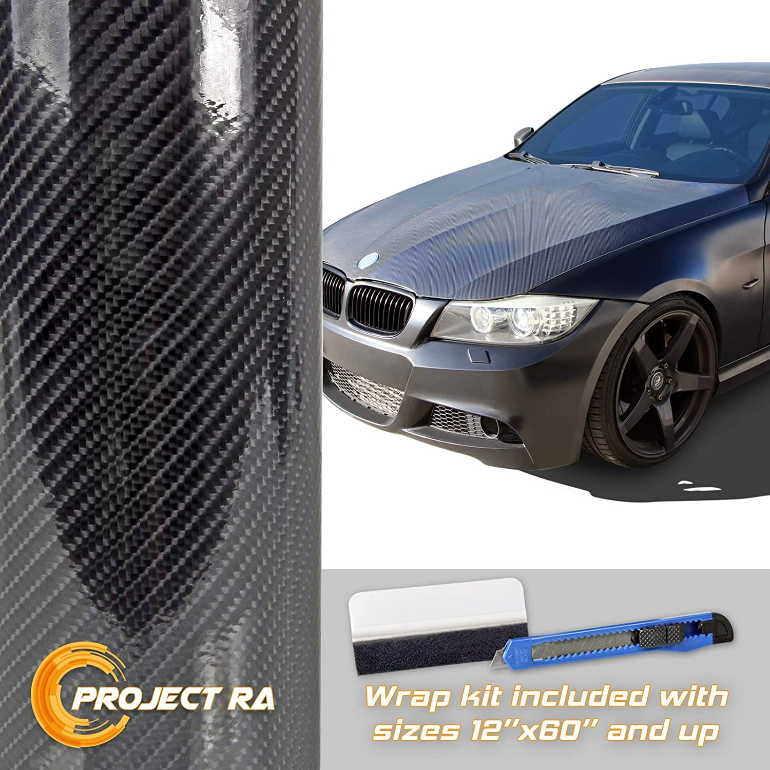 50ft x 5ft Premium 5D HIGH GLOSS Black Carbon Fiber Vinyl Wrap Bubble Air Free