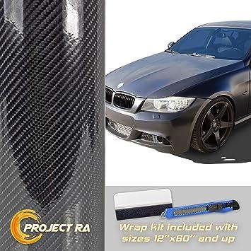 "10 ft x 2 ft Gloss Black 4D Carbon Fiber Vinyl Wrap Bubble Air Free 120/"" x 24/"""