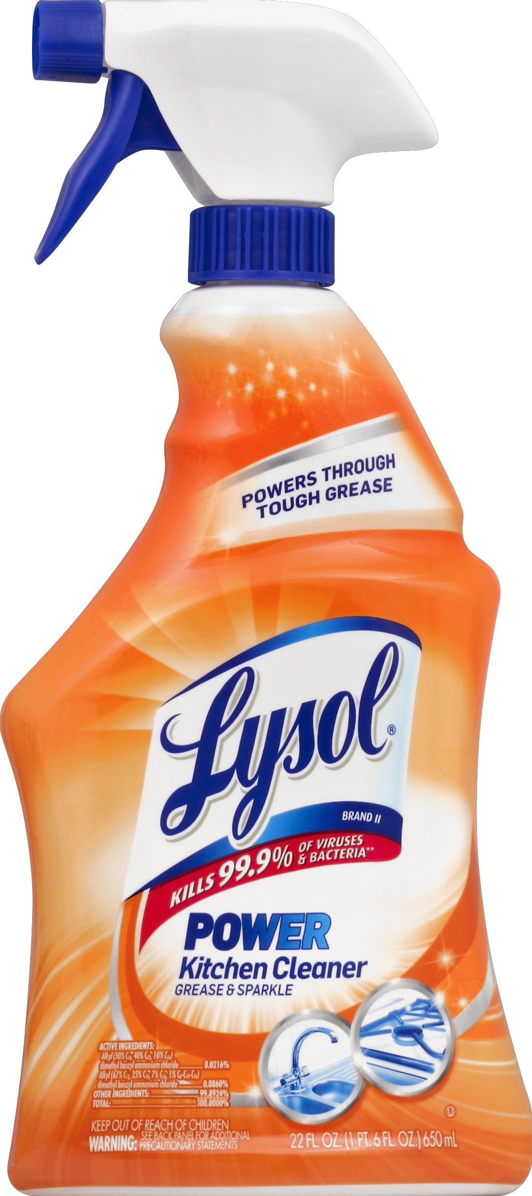 Lysol Power Kitchen Cleaner, Citrus Scent, 22 oz, Case of 12