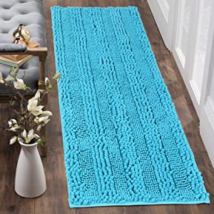 Uphome Bath Runner Extra Long Turquoise Chenille Bathroom Rugs 20x59 inch Non-Slip Water Absorbent Bath Mat Luxury Shaggy Machine Washable Bath Rug Soft Microfiber Floor Rug for Bathtub