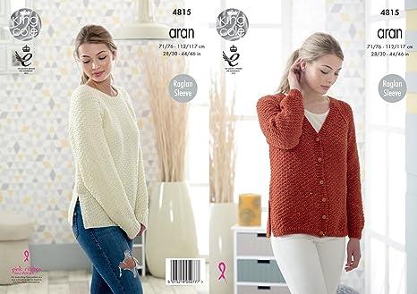 5253097d6792 King Cole Ladies Aran Knitting Pattern Womens Raglan Sleeve Split ...