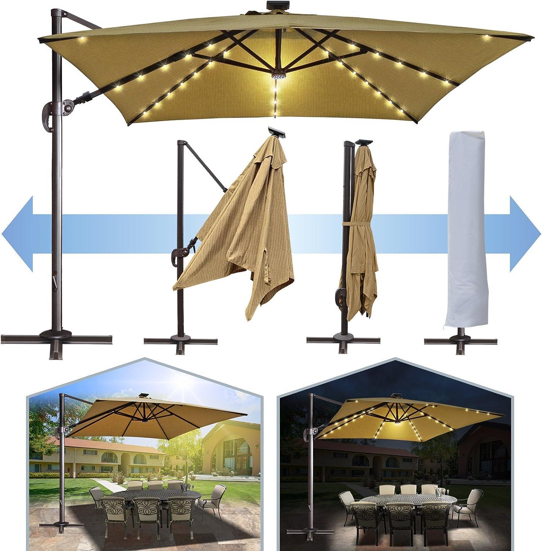 BenefitUSA 10 x10 Deluxe off-set colgante romaníes sombrilla UV50 + inclinación y 360 rotación Patio al aire libre Parasol voladizo manivela con Sunbrella Cover & Base: Amazon.es: Jardín