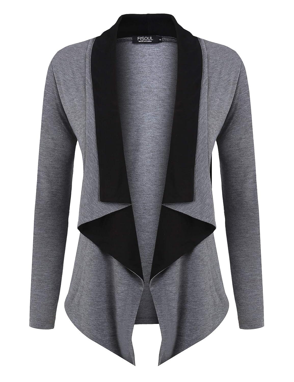 FISOUL Women Cardigan Open Front Color Block Drape Long Sleeve Irregular Hem Lightweight Cardigans
