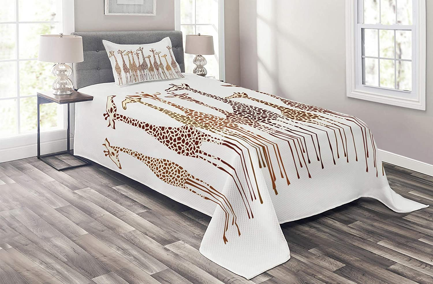 Lunarable Safari Coverlet Set Twin Size, Tropical Giraffes Exotic Climates Wilderness Savannah Animals Illustration, 2 Piece Decorative Quilted Bedspread Set with 1 Pillow Sham, Brown