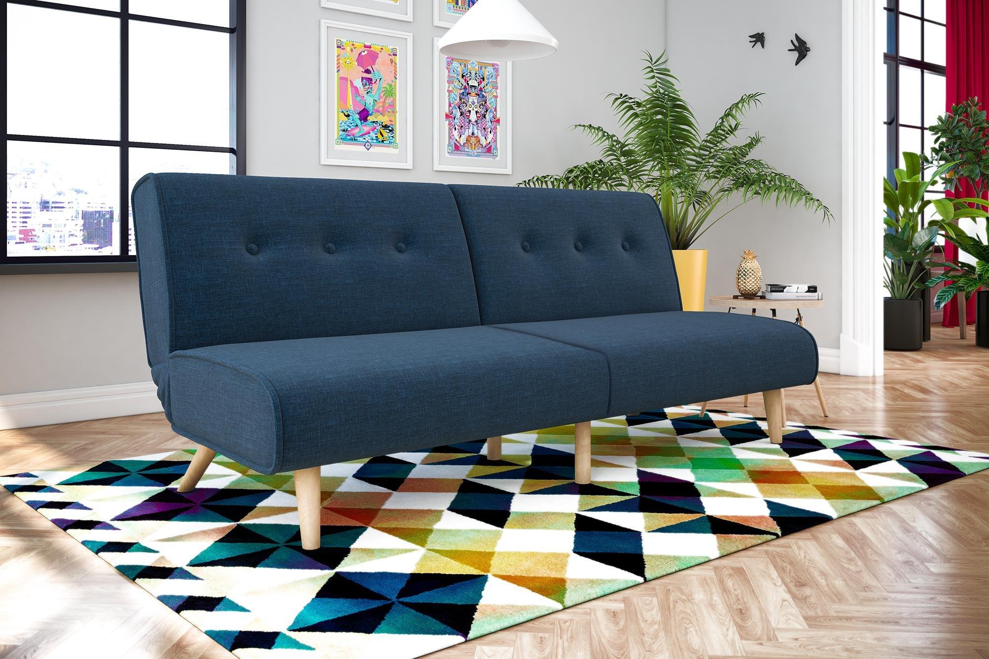Novogratz Palm Springs Convertible Sofa Sleeper in Rich Linen, Sturdy Wooden Legs and Tufted Design, Blue Linen by Novogratz