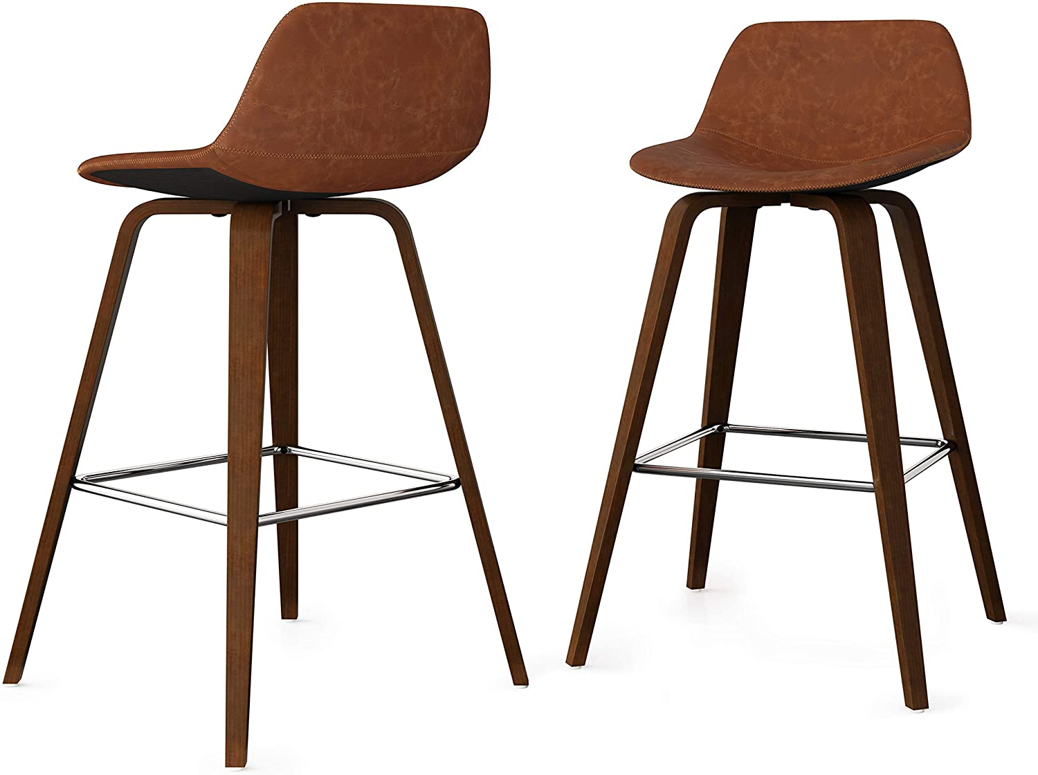 SIMPLIHOME Randolph Mid Century Modern Bentwood Counter Height Stool (Set of 2) in Deep Tan Faux Leather