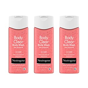 Neutrogena Body Clear Acne Treatment Body Wash with Salicylic Acid Acne Medicine, Pink Grapefruit Body Acne Cleanser to Prevent Breakouts on Back, Chest & Shoulders, 3 x 8.5 fl. oz