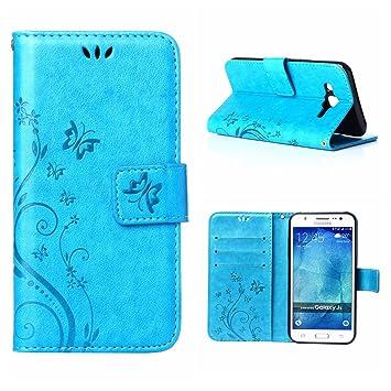 MOONCASE Galaxy J5 (2015) Funda Flor Carcasa Cuero Tapa Cover para Samsung Galaxy J5 (2015) Bookstyle Cartera TPU Case con Función de Soporte Azul