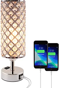Dimmable Table Touch Lamp with 2 USB Charging Ports, AC Outlet, and Bulb, Decorative Crystal Bedside Light, Cute Modern Desk Lamps for Bedroom, Living Room, Bed Side, Guest Room, and Home Office