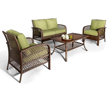 ulax Muebles 4 piezas para exteriores Deep Grupo de Asiento ...