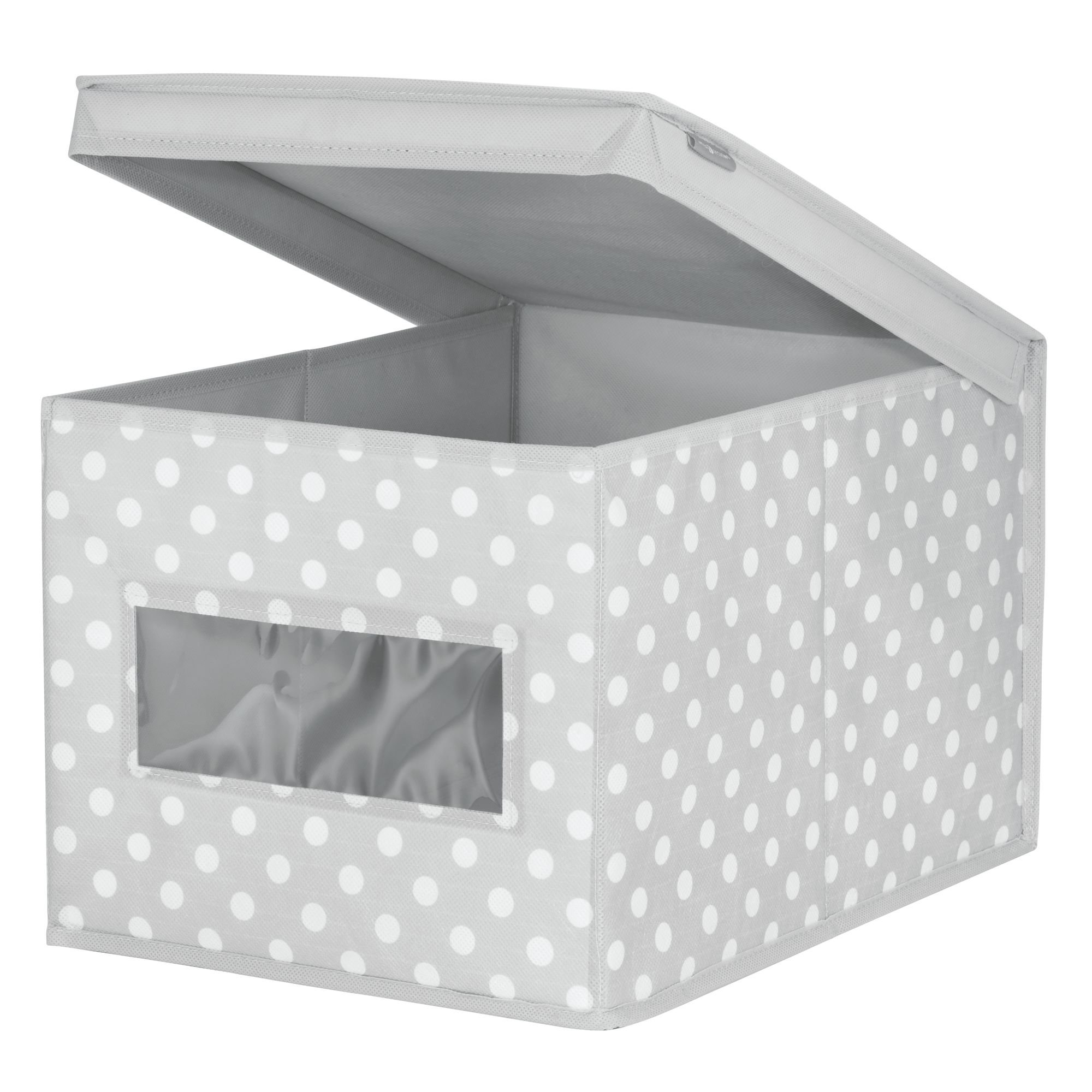 mDesign Soft Stackable Fabric Closet Storage Organizer Holder Box - Clear Window, Attached Hinged Lid, for Child/Kids Room, Nursery - Polka Dot Pattern - Large, Pack of 2, Light Gray with White Dots by mDesign (Image #4)