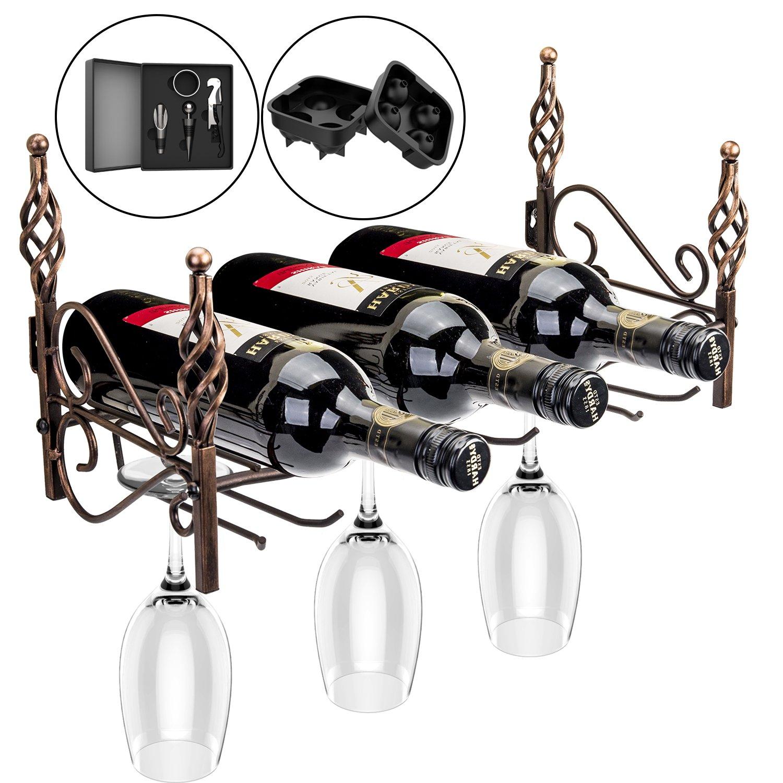 Inmount Wine Rack, Classic Wall Mount Wine Bottle Stemware Glass Holder, Artistic Decorative Retro Vintage Bronze Metal, Include Multifunctio Corkscrew,Wine Stopper Pourer,Drip Ring, Ice Model Kit
