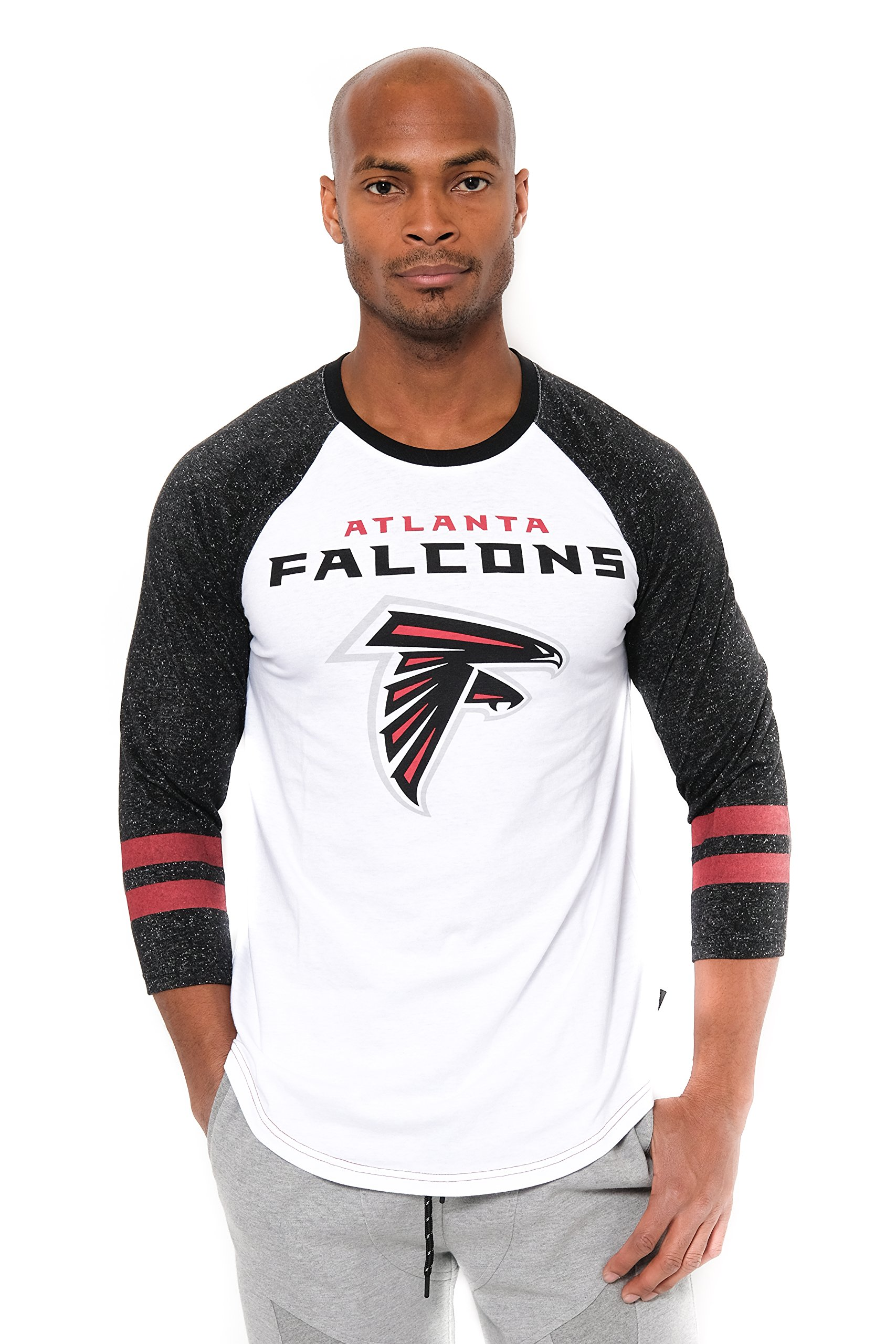 NFL Men's Atlanta Falcons T-Shirt Raglan Baseball 3/4 Long Sleeve Tee Shirt, Large, White