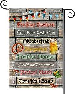 AVOIN Oktoberfest Slogan Free Beer Pretzel Hat Garden Flag Vertical Double Sided, German Bavaria Flag Yard Outdoor Decoration 12.5 x 18 Inch