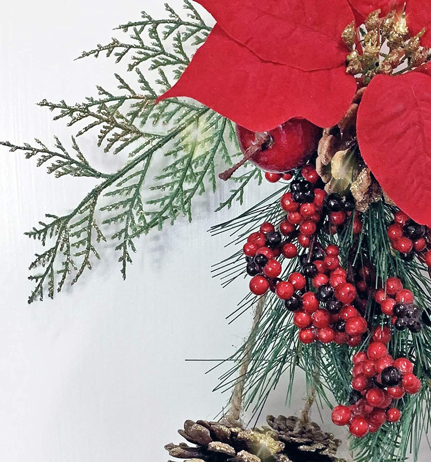 TenWaterloo 18 Inch Artificial Cedar and Pine Christmas Door Hanger with Golden Pine Cones Faux Berries and Poinsettia Bloom