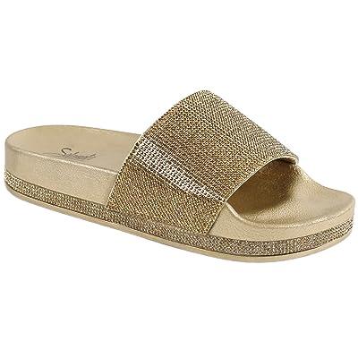 Solemate Women's Rhinestone Glitter Crystal Slide Footbed Platform Sandal Slippers | Slides