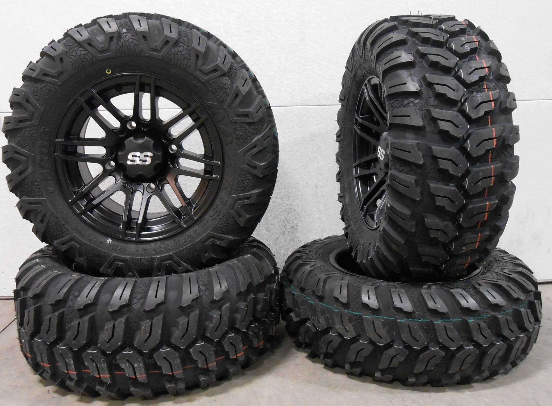 Bundle - 9 Items: ITP SS316 14'' Wheels Black Ops 26'' Ceros Tires [4x156 Bolt Pattern 3/8x24 Lug Kit]
