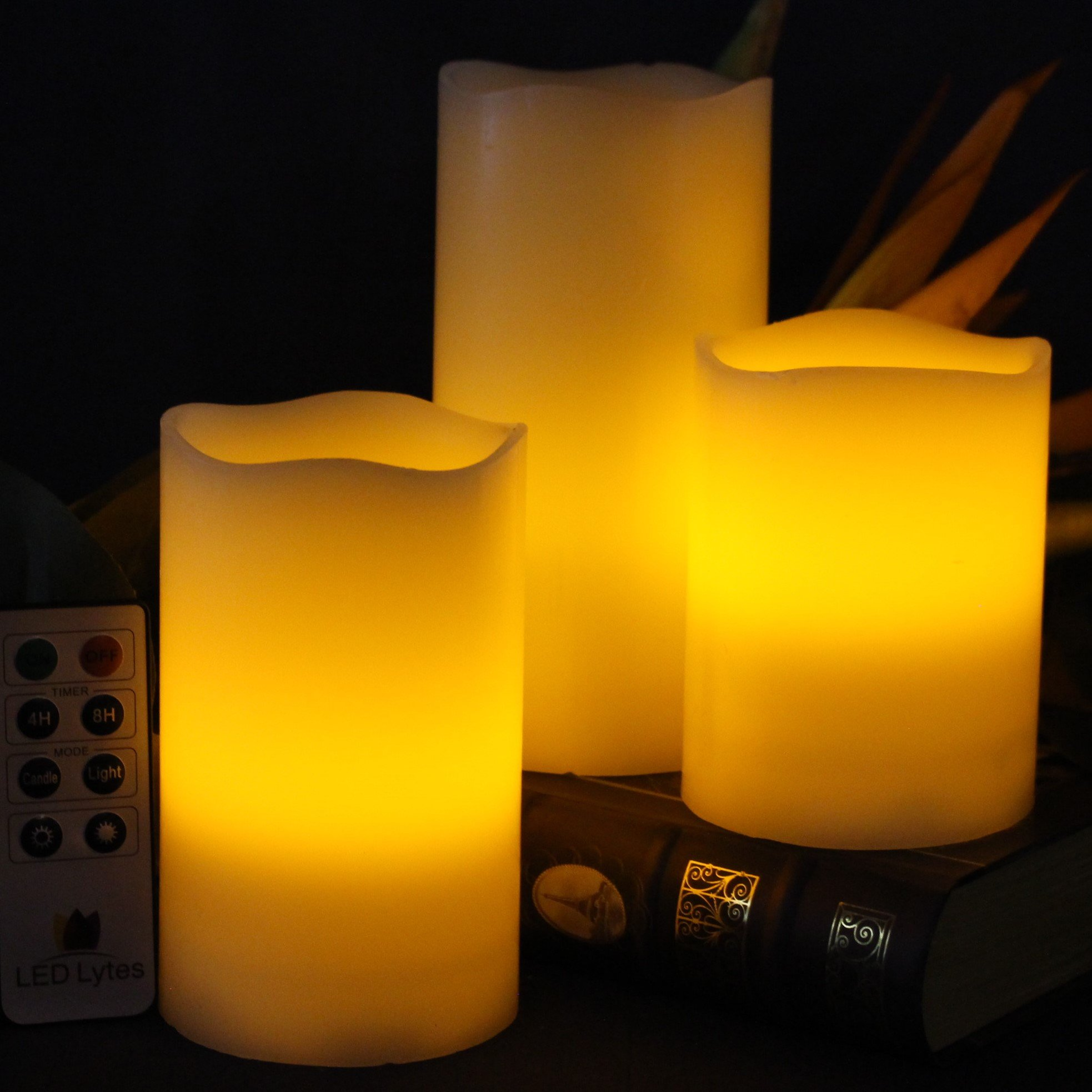 LED Lytes Flickering Flameless Candles - Set of 3 Ivory Wax Flickering Amber Yellow Flame, Auto-Off Timer Remote Control Fake Battery Operated Candles by LED Lytes (Image #3)