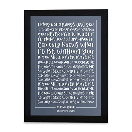 Personalised Song Lyrics Print Typography Song Words Wedding Vows Poem Or Speech Print Framed Custom Designed Special Song Gift Perfect For
