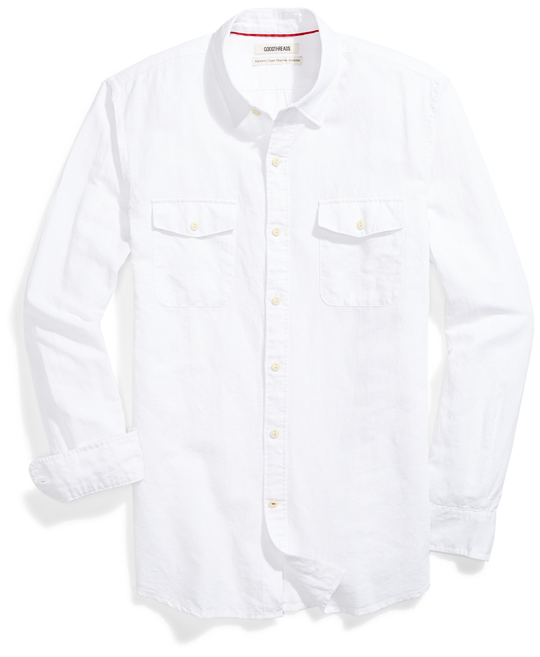 Goodthreads Men's Standard-Fit Long-Sleeve Linen and Cotton Blend Shirt, White, Medium