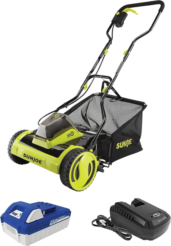 Sun Joe Cordless Push Reel Mower with Grass Collection Bag