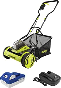 Sun Joe 24V-CRLM15 24-Volt iON+ Cordless Push Reel Mower w/Rear Collection Bag, Kit (w/ 4.0-Ah Battery + Charger)