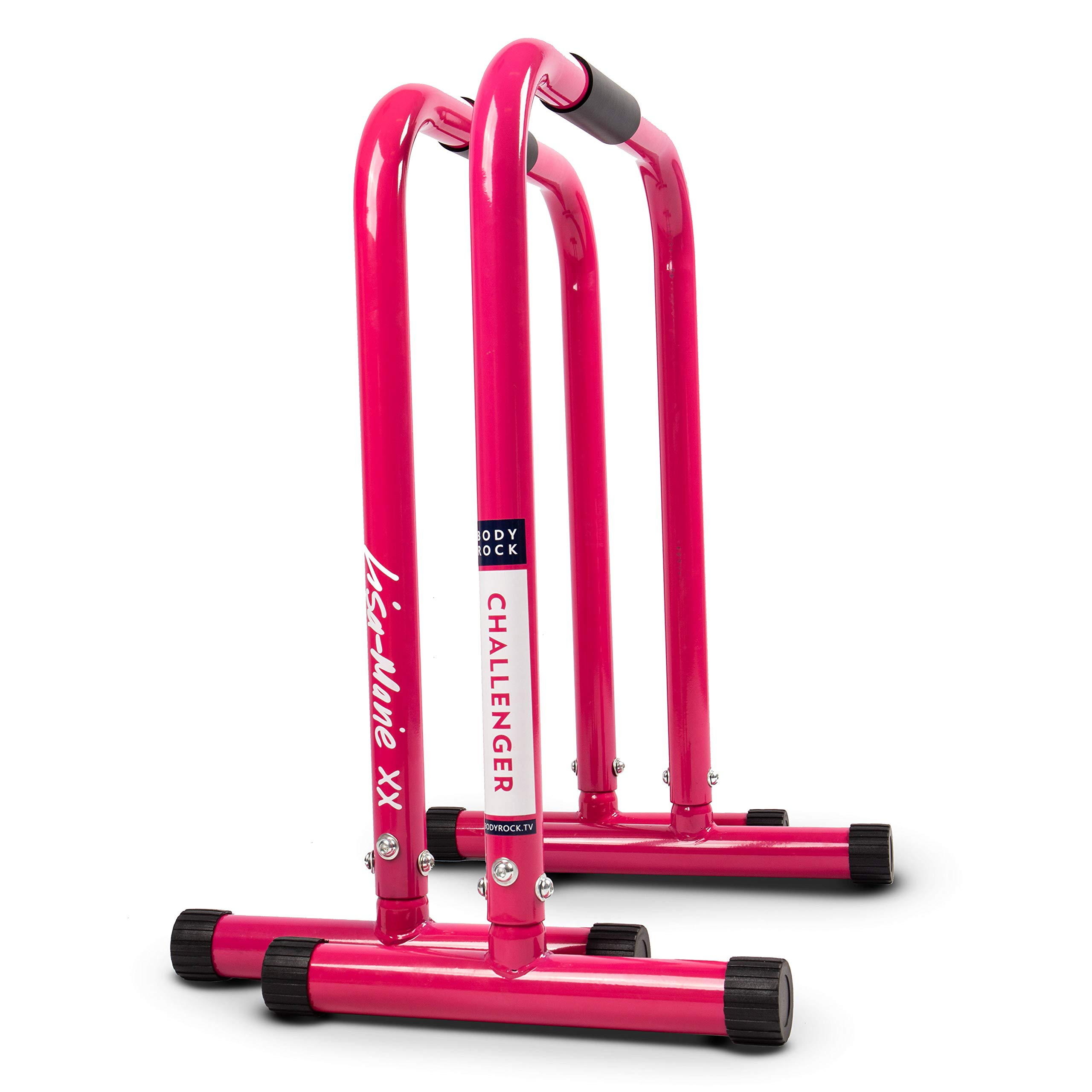 Dip Bar Station for Home Workout: BodyRock Challenger Exercise Bars for Dips & Calisthenics - Parallette Equipment to  Build Core Strength, Balance & Tricep, Arm & Shoulder Muscles - 2 Bars (PINK)