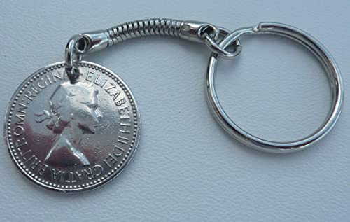 One Shilling Coin Keyring 1964 Genuine English Old Queen