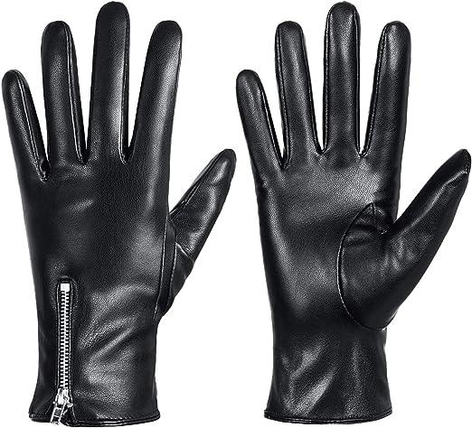 Para Hombre Vestido Moda Invierno cálido Guantes real de cuero negro de alta calidad