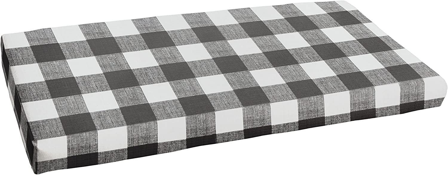 1101Design Premier Prints Anderson Matte Bristol Decorative Indoor Outdoor Rectangle Bench Cushion, Perfect for Patio Decor – Black Buffalo Plaid 43 x 18