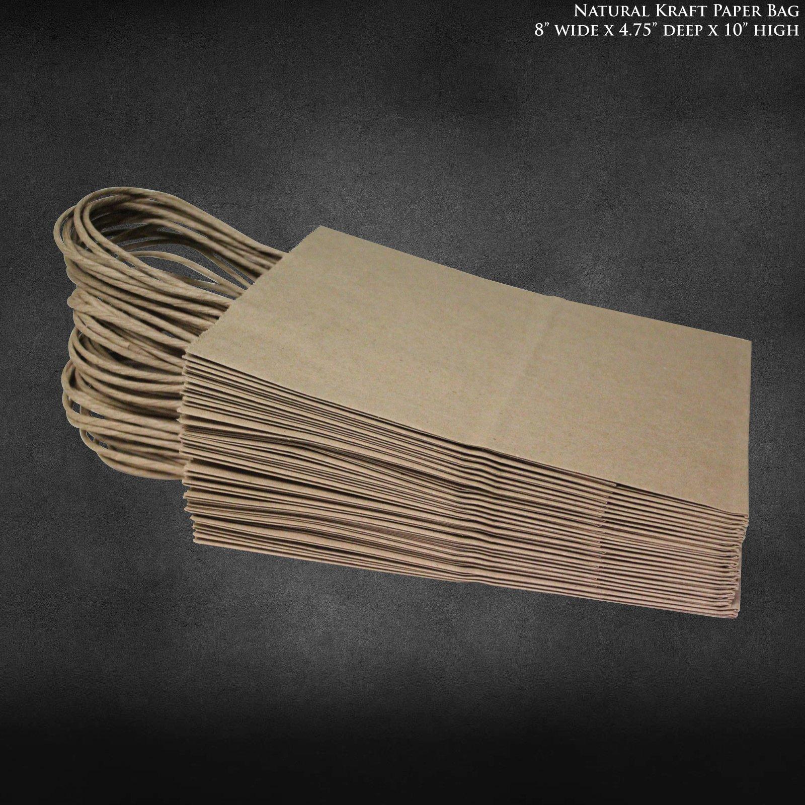 8''x4.75''x10'' 50 pcs- Brown Kraft Paper Bags Shopping Bags Party Bags Retail Bags Craft Bags Brown Bag Natural Bag