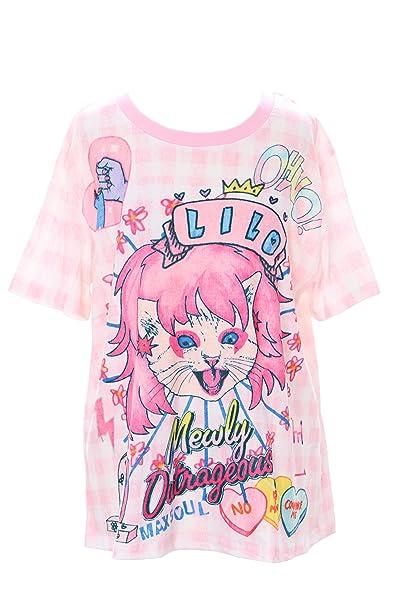 Kawaii-Story - Camiseta - Redondo - para Mujer Rosa Multicolor Talla única