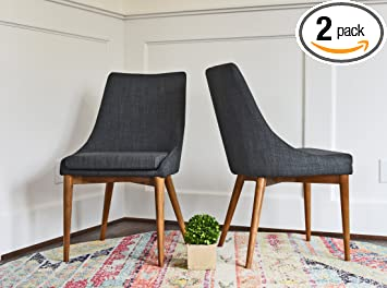 02559809d594 Upholstered Dining Chairs - Mid Century Modern Dining Room Chairs - Set of 2  - Dark