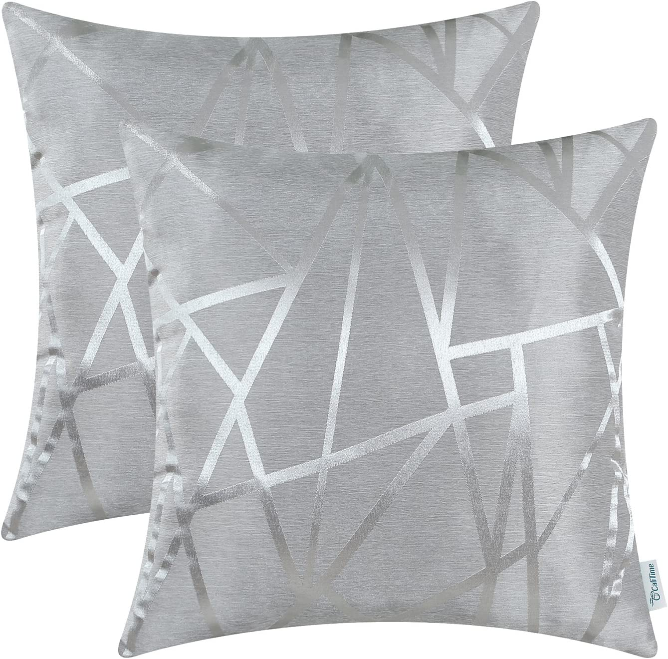CaliTime Pack of 2 Throw Pillow Covers Cases for Couch Sofa Home Decor Modern Shining & Dull Contrast Triangles Abstract Lines Geometric 20 X 20 Inches Silver Gray