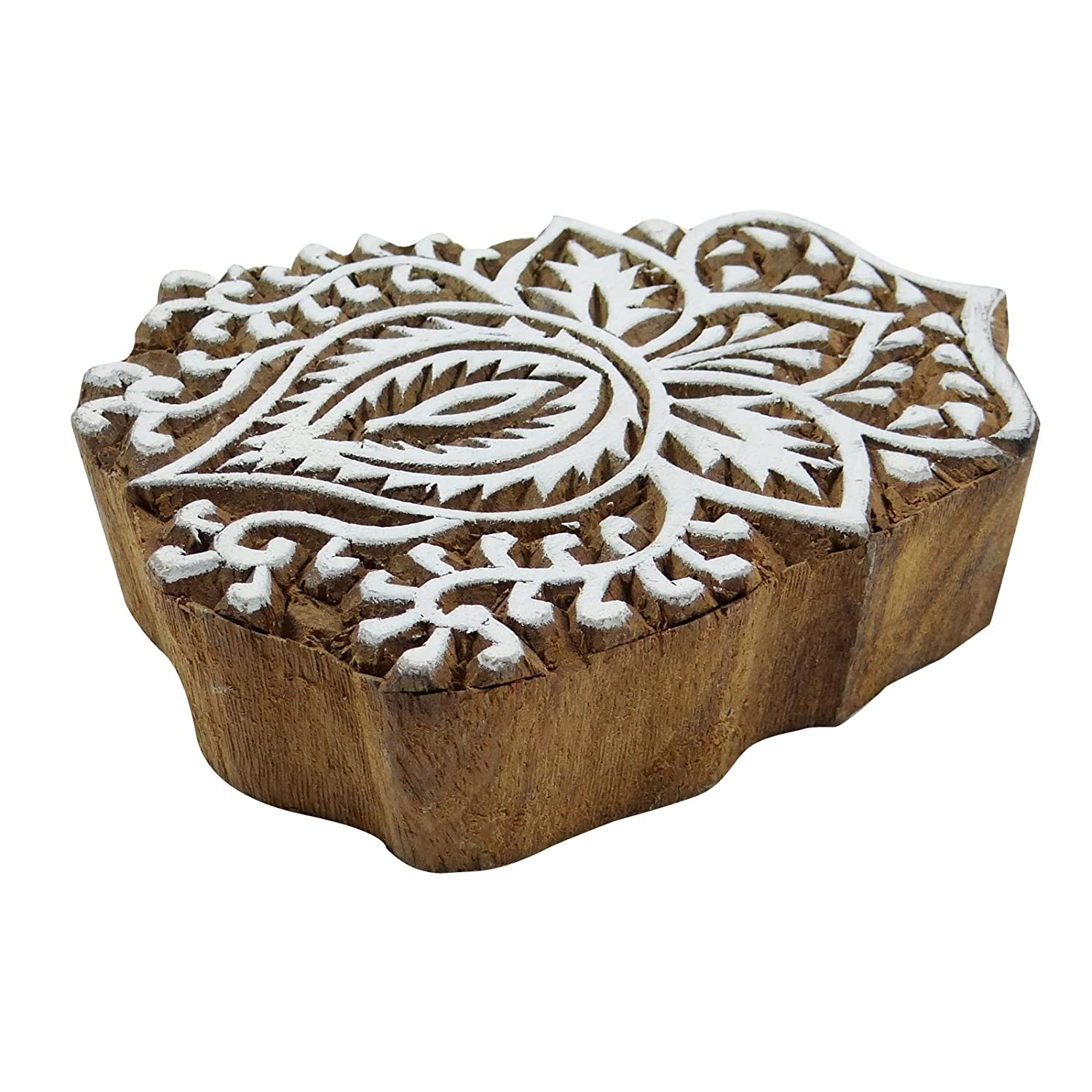 Handcarved Decorative Tree Wood Block Art Wooden Textile Stamp Printing Block