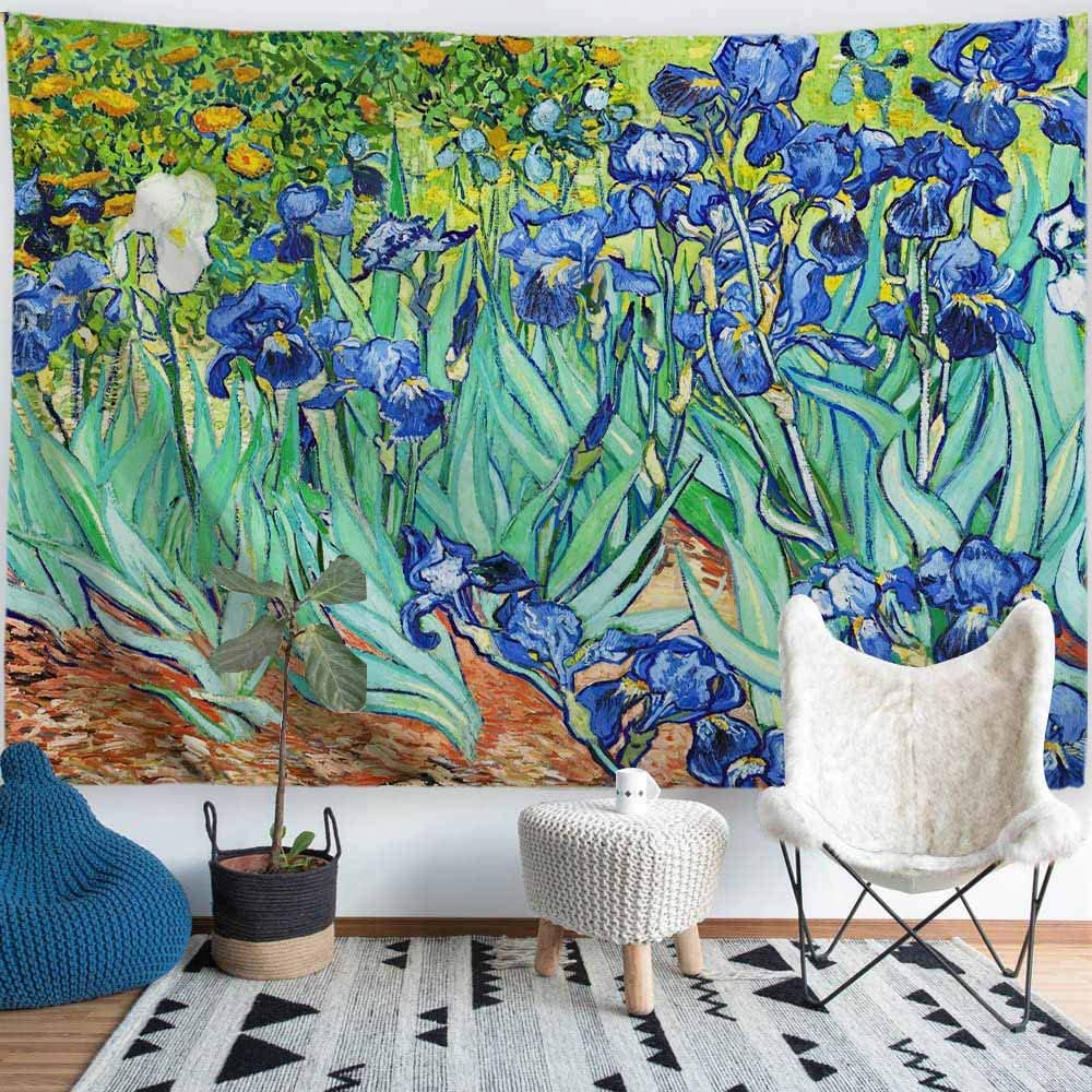 Procida Van Gogh Tapestry Wall Hanging Irises Flower Oil Painting Nature Plant Floral Wall Art Home Decor For Dorm Bedroom Living Room 60 W X 51 L Irises Everything Else