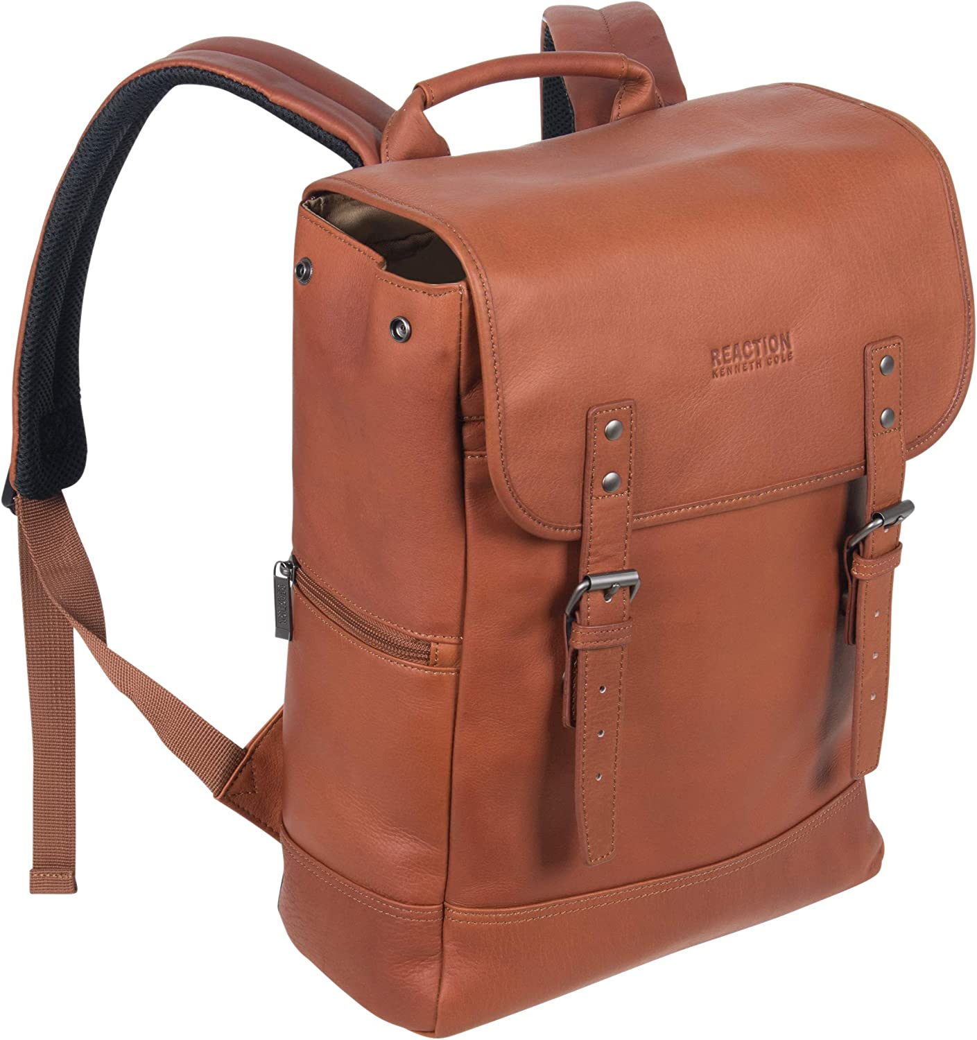 Kenneth Cole Reaction Colombian Leather Single Compartment Flapover 14.1 Laptop Backpack RFID , Cognac