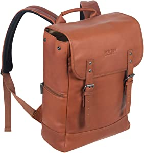 "Kenneth Cole Reaction Colombian Leather Single Compartment Flapover 14.1"" Laptop Backpack (RFID), Cognac"