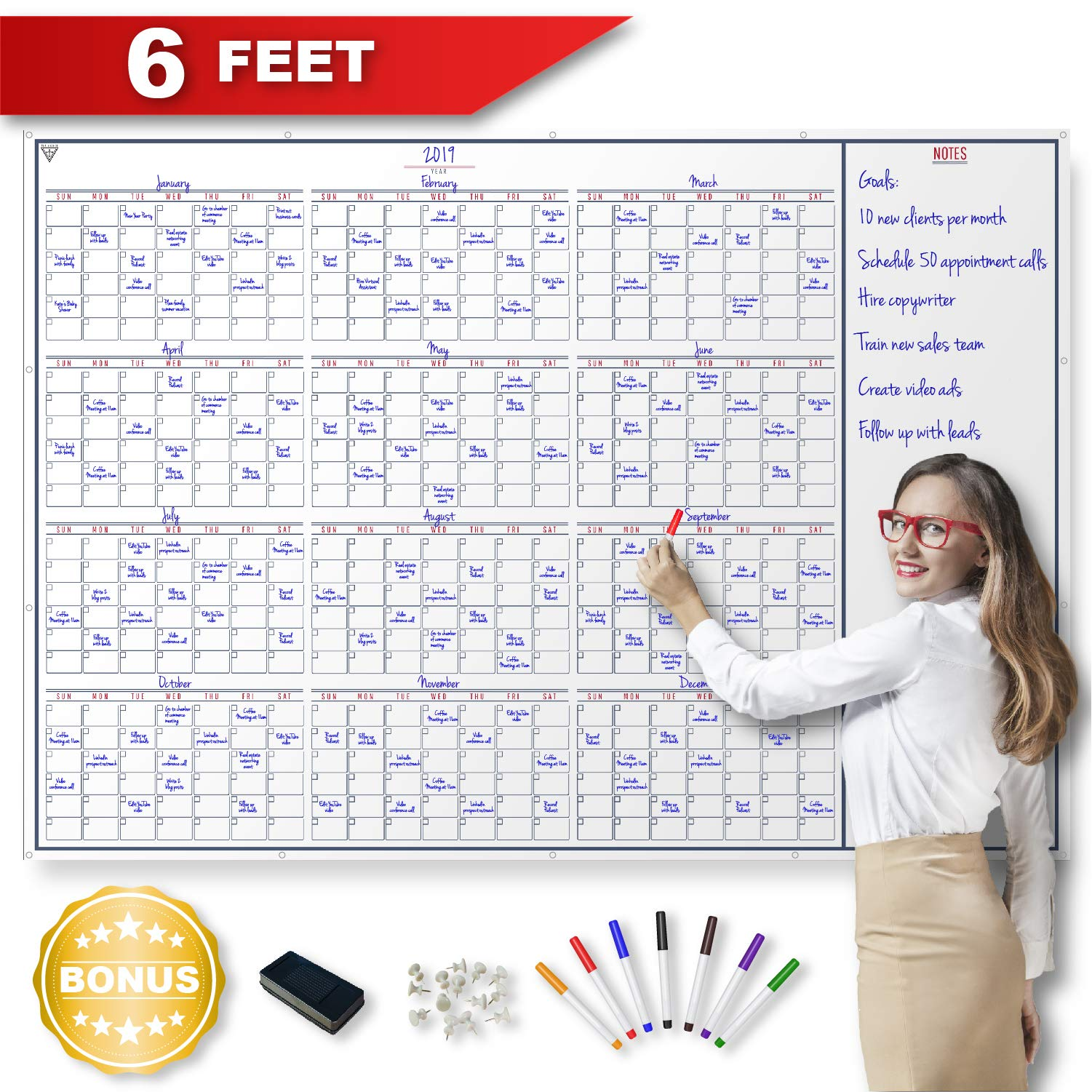 Large Dry Erase Wall Calendar - Whiteboard Project Yearly Calendar with Large Date Boxes and Reusable PET Lamination for Office, Home or School with 7 Fine Point Dry Erase Markers, Eraser and 14 Pushp by Top Archer
