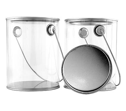amazon com clear plastic paint cans 2 pack quart size art cans w
