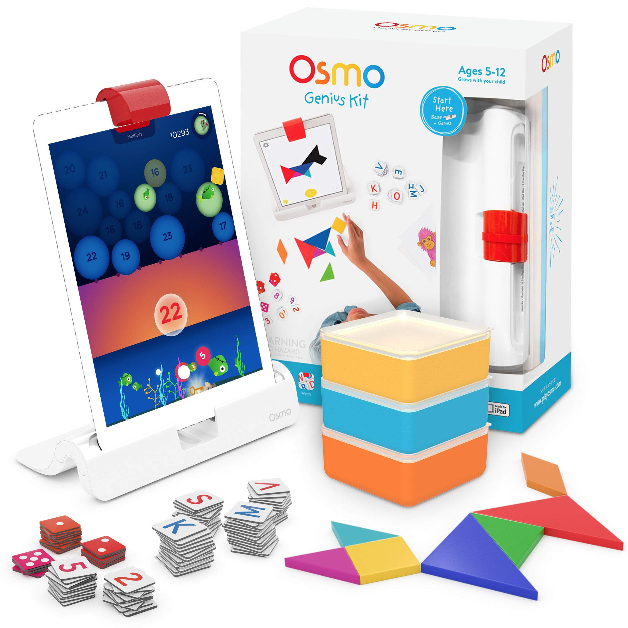 Osmo - Genius Kit for iPad - 5 Hands-On Learning Games - Ages 6-10 - Math, Spelling, Problem Solving & Creativity - STEM - (Osmo iPad Base Included) by Osmo (Image #1)