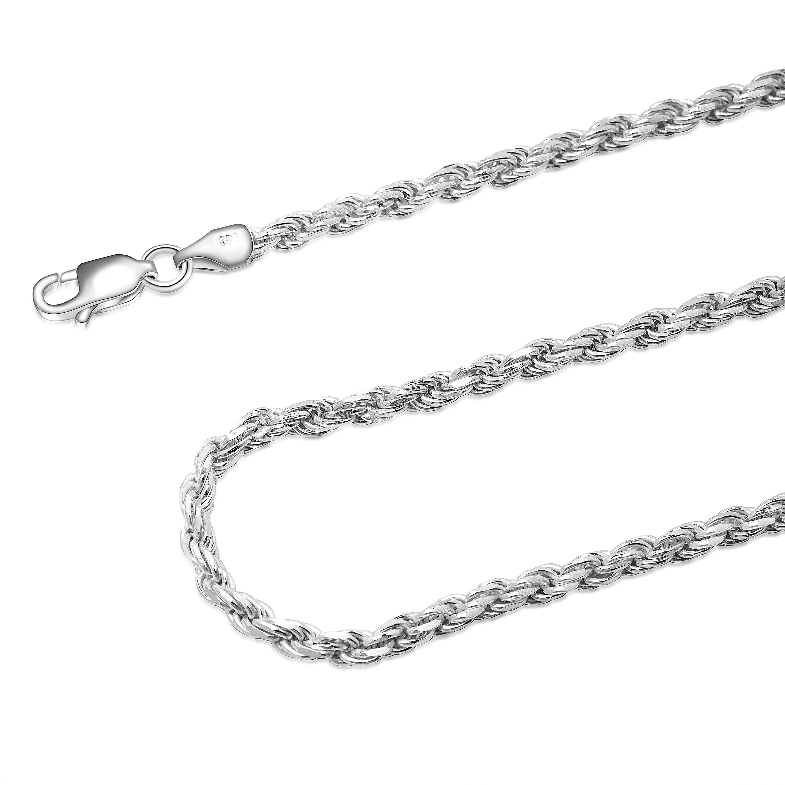 925 Sterling Silver 3MM Rope Chain Lobster Claw Clasp - 24'' by Designer Sterling Silver (Image #6)