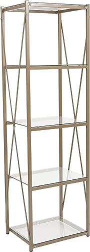 Flash Furniture Mar Vista Collection 4 Shelf 64″H Cross Brace Glass Bookcase