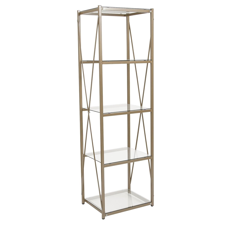 Flash Furniture Mar Vista Collection Glass Storage Shelf with Matte Gold Frame NAN-JH-1796BF-GG