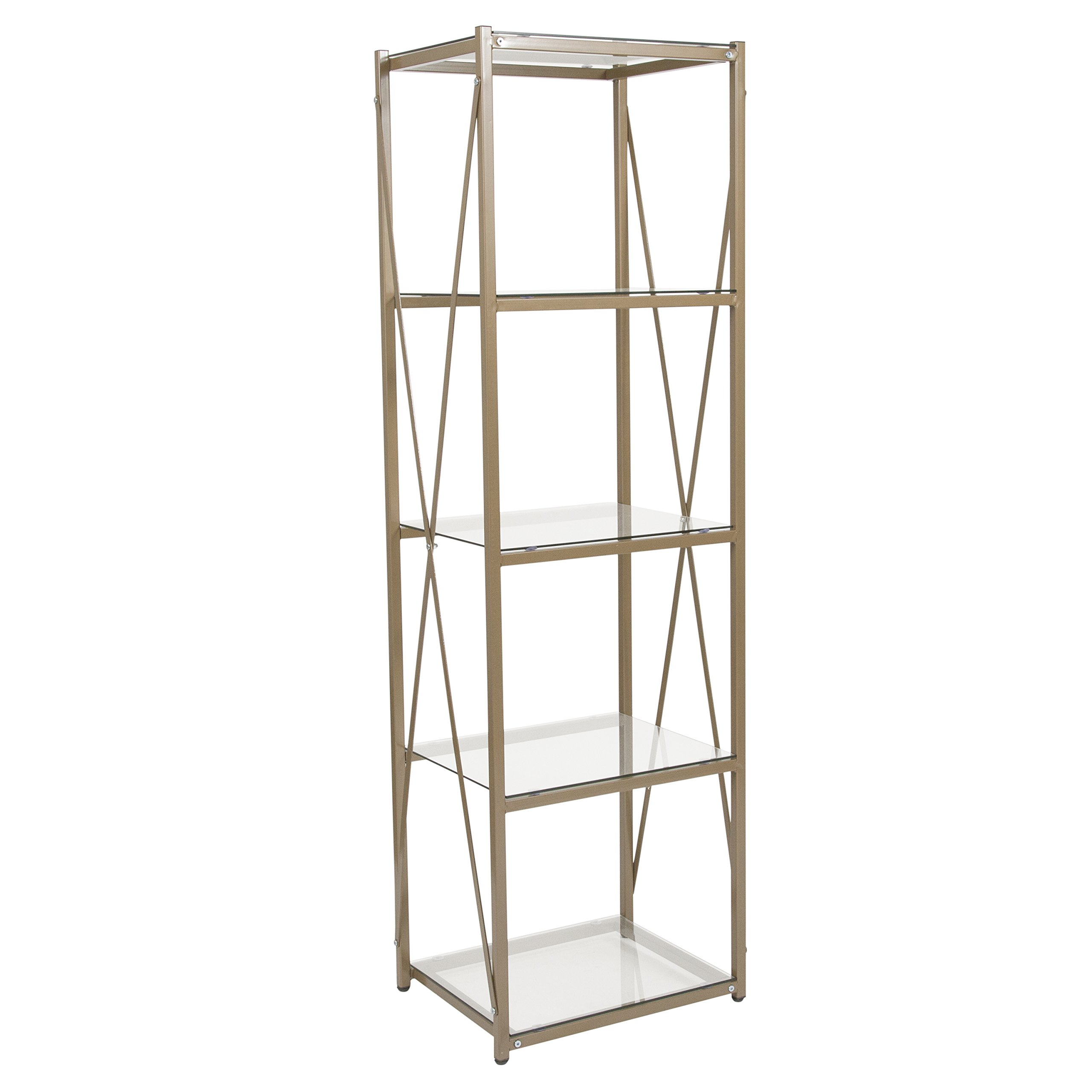 Flash Furniture Mar Vista Collection 4 Shelf 64''H Cross Brace Glass Bookcase in Matte Gold by Flash Furniture