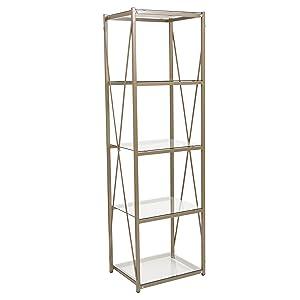 """Flash Furniture Mar Vista Collection 4 Shelf 64""""H Cross Brace Glass Bookcase in Matte Gold"""