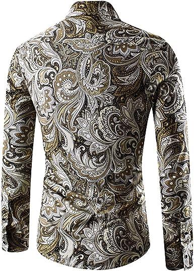 Ropa Pulsador De Hombre Camisa De Vintage Manga Larga Ocasional Moda con Estampado Blusa Slim Fit Camisas Tops Otoño: Amazon.es: Ropa y accesorios